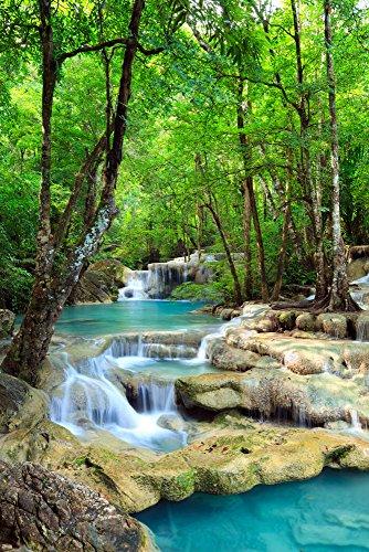 Wasserfälle - Erawan Wasserfälle im Kanchanaburi Nationalpark in Thailand - Blue Water - Natur Paradies Poster - Größe cm