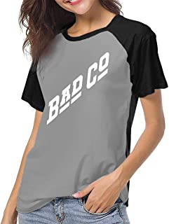 hdghg Camisetas para Mujer,Women's T-Shirt Causal Short Sleeve tee Bad CO Bad Company Rock Music Unique Design Clothing