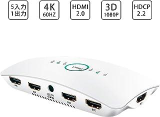 HDMI 切替器 Sky Castle HDMI 分配器 5入力/1出力 4K + 3D 高速 HDMI セレクター 4K60Hz HDMI2.0 HDCP2.2対応 自動手動切り替え USB給電ケーブル リモコン付き