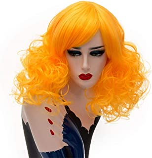 FHKGCD Perruque Bob Courte Cosplay Synthétique Blonde Cheveux Résistants À La Chaleur pour Les Femmes Bangs Latéraux Rose ...