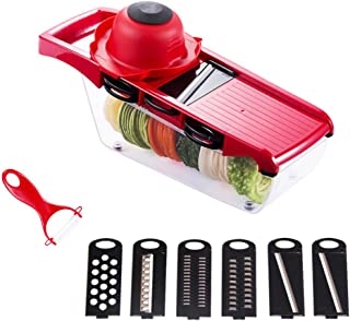 Vegetable Chopper, Mandoline Slicer COOAK Pro Onion Chopper 6 in 1 Food Dicer Veggie Cutter with Container Protected Interchangeable Blades Cheese Grater for Garlic Carrot Potato Tomato Fruit Salad