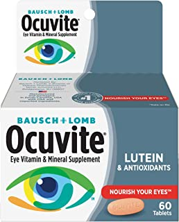 Bausch + Lomb Ocuvite Eye Vitamin and Mineral Supplement with Lutein, 60 Count Bottle