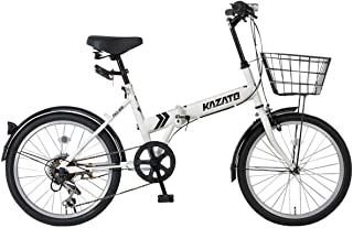 【組立必要商品】【カゴ・フロントライト・ワイヤー錠SET】KAZATO(カザト)FKZ-206 折り畳み自転車 折りたたみ 折りたたみ自転車 20インチ シマノ製6段変速 前後フェンダー