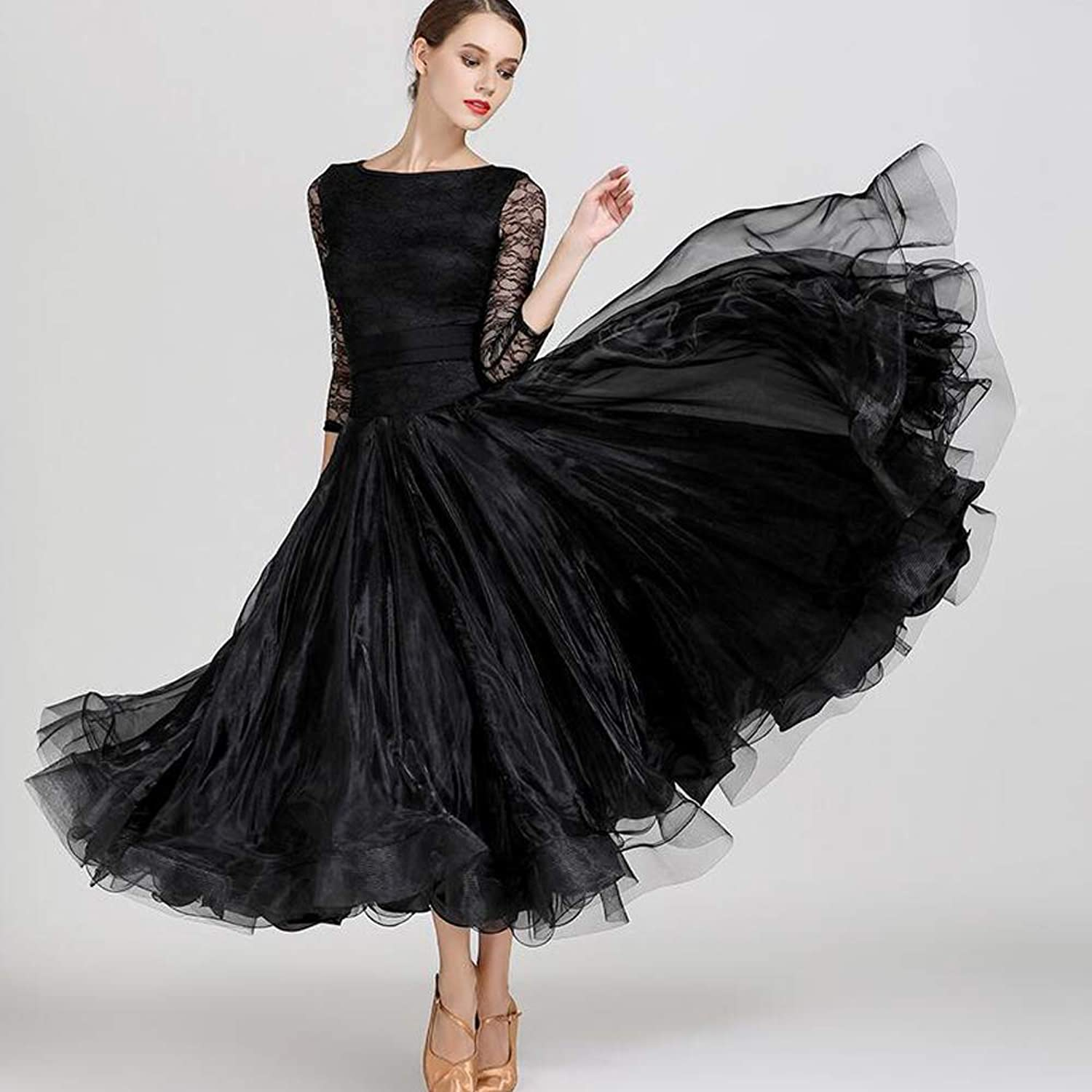 Women Dance Dress Black lace Long Sleeves Skirt Elastic Belt Organza Splicing Christmas Party Prom 720°Big Skirts Sequins Plus Size XL 2XL