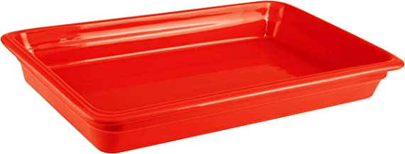 Paderno World Cuisine 44312R06 Induction or Porcelain Hotel Pan, Large, Red