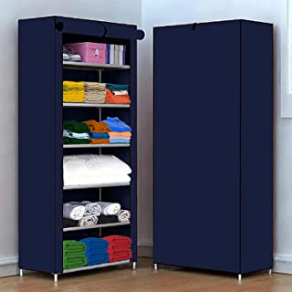 AYSIS Multipurpose 6 Shelve Baby Wardrobe, Foldable, Collapsible Fabric Wardrobe Organizer for Clothes (PVC Plastic and No...