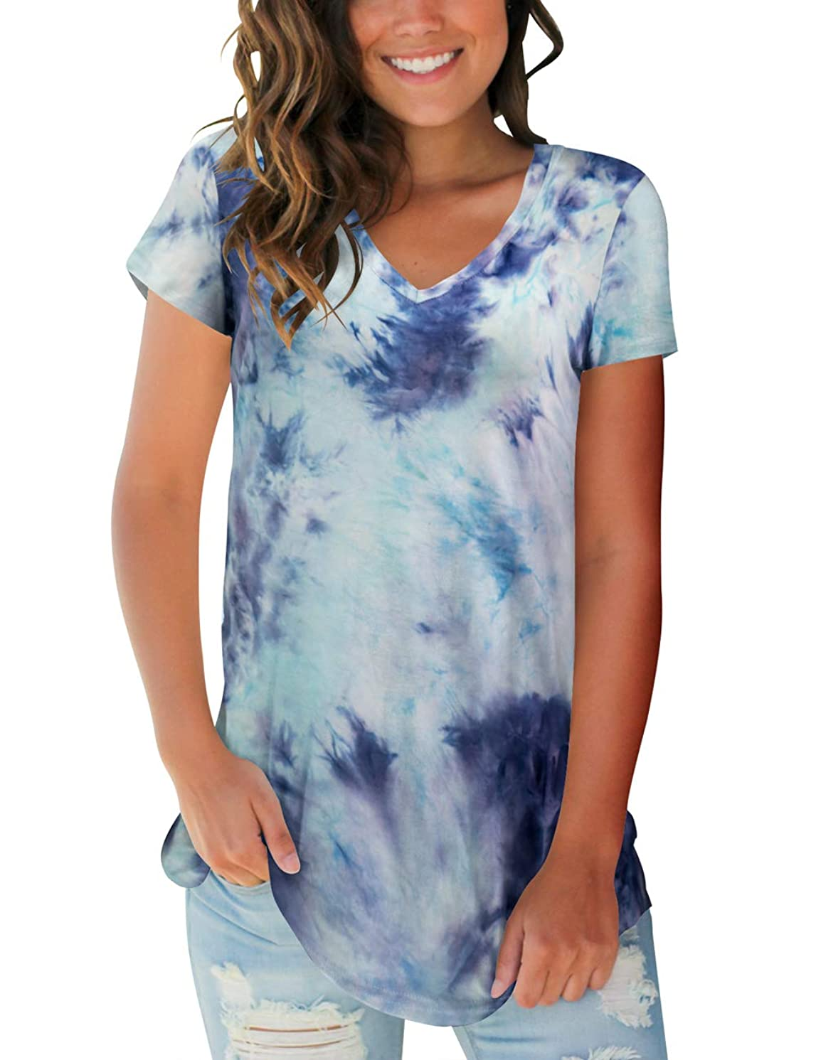 Women's Tops Tie Dye V Neck Summer Casual Short Sleeve T Shirts