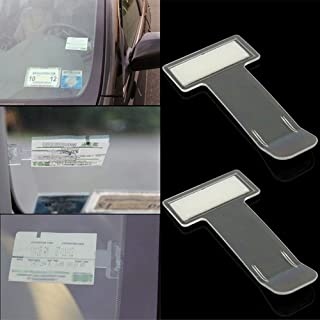 No Branded Yisika Parking Permit Holder,Car Windscreen Ticket Holder,2 Pcs Osculum Type Self-Adhesive Ticket Clip for Parking Permit Resident Permit