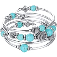 Beaded Chakra Bangle Turquoise Bracelet - Fashion Jewelry Wrap Bracelet with Thick Silver Metal...