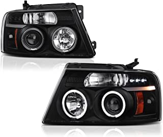 [For 2004-2008 Ford F-150 Lincoln Mark LT] LED Halo Ring Black Projector Headlight Headlamp Assembly, Driver & Passenger Side
