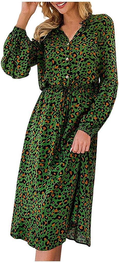 Women's Classic Long Sleeve Wrap Dress Plain Button Long Sleeve Slim Pleated Flowy Swing Midi Work Casual Dress Green