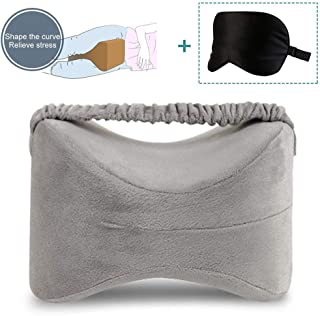 Knee Pillow for Side Sleepers Memory Foam Leg Pillow with Elastic Strap Multi-use Ergonomic Design for Sciatica Pain Relief, Leg Pain, Pregnancy, Hip and Joint Pain + Natural Silk Sleep Eye Mask