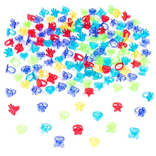 Super Z Outlet Colorful Assorted Plastic Glitter Toy Rings | Bag of 144 Rings (Hearts, Bears, Stars, Hands & Flowers) | Use As Party Favors, Cake Toppers, in Goody Bags, Piñatas, Arts, Crafts & More