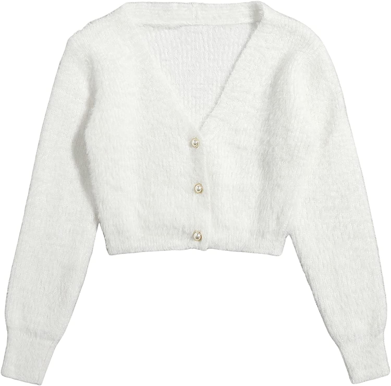 MakeMeChic Women's Long Sleeve V Neck Button Up Fuzzy Cardigan Sweater Crop Top