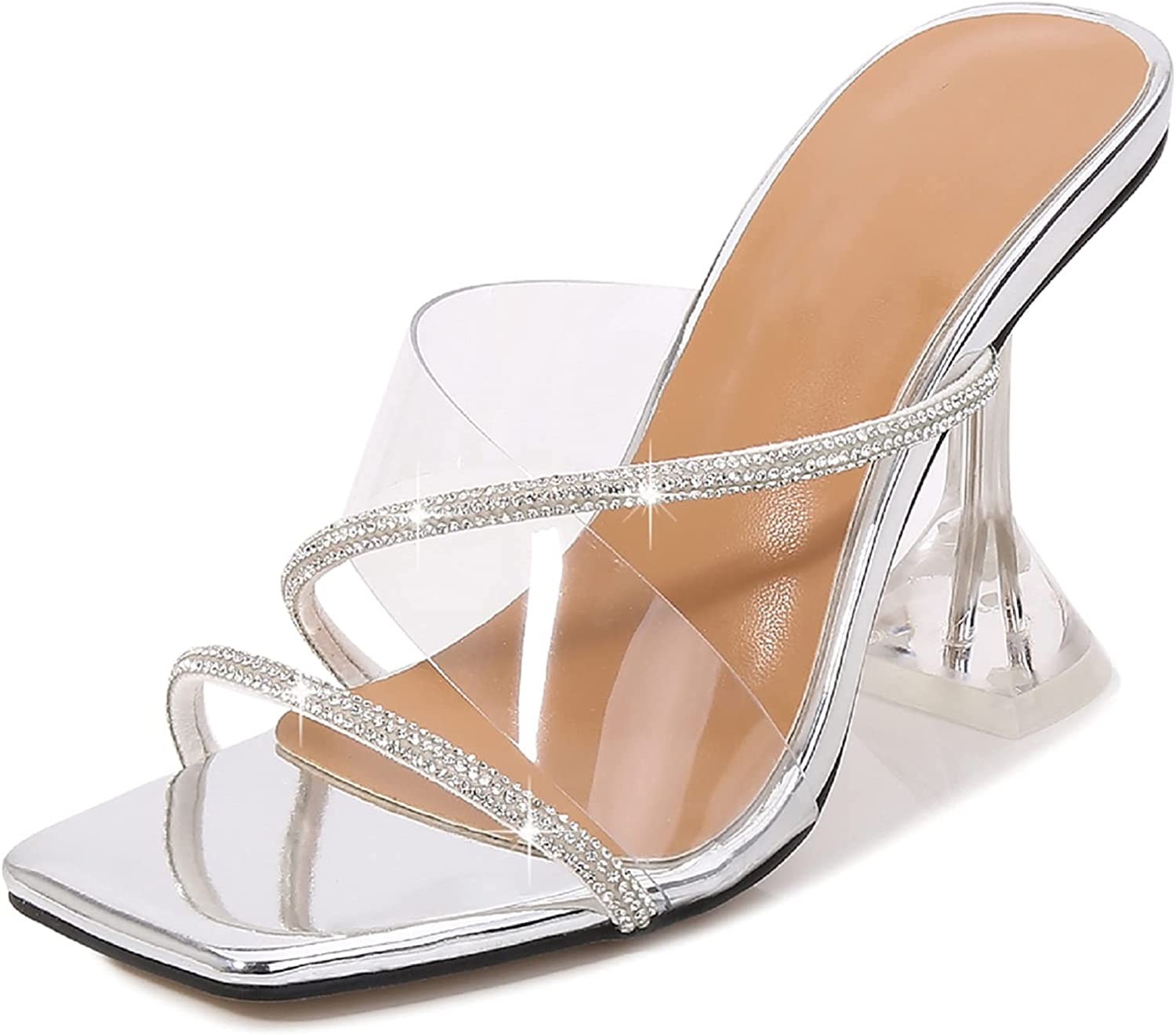Vergissherz Memphis Limited price sale Mall Rhinestone Square Toe Clear Heeled Slingbac Open