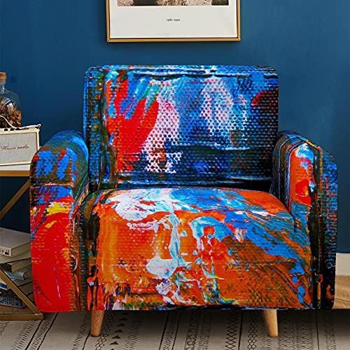 Elastisch Sofa Überwürfe Mit Armlehnen, Chickwin 1/2/3/4 Sitzer Sofabezug Mode Farbe 3D Stil Polyester Stretch Weich Abwaschbar Couch Sofaüberwurf Wohnkultur (rot blau Graffiti,3 Sitzer)