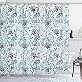 SCDSM Duschvorhang,Duschvorhang Wasserdicht,Waschbar,Textil Polyester,mit 12 Duschvorhangringen,3D Drucken Nautische Verschiedene Muscheln-180x200cm