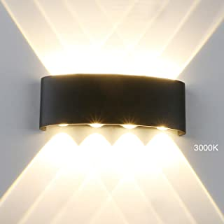 Modern LED IP65 Waterproof Exterior Wall Lamp, Yosoan 8W 86V-265V Sconce Warm White 3000K Aluminum Indoor Outdoor Surface Mount Rainsafe Matte Black Wall Fixture Up Down Porch Staircase Hallway Garage