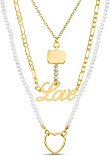 Steve Madden Simulated Pearl Yellow Heart Rhinestone Key Love 3 Row Layered Chain Necklace for Women