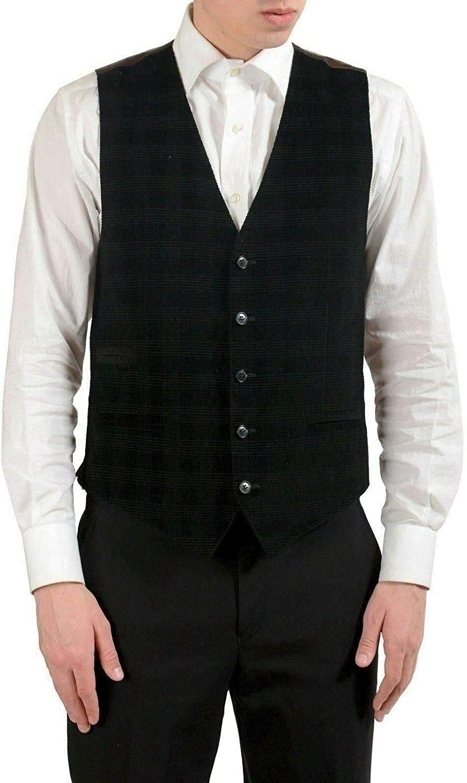 Dolce NEW Challenge the lowest price of Japan ☆ Gabbana Men's Velour Black Plaid S Button Vest IT US Up