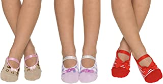 3 Pairs Non Slip Skid Crossover Cotton Ballerina Yoga Socks with Grip Bottom for Kids Girls Toddlers Children (2-4/5-7 Year)