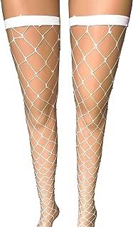 FANCAME Sexy Fishnet Stockings Women's High Waist Sparkle Rhinestone Tight Pantyhose