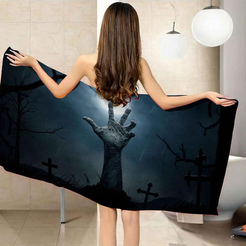 IRUAIF Microfiber Beach Towel Night Max 62% specialty shop OFF arm Horror 78.7x78.7in Quick