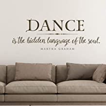 Fifikoj Wall Sticker Dance is The Hidden Language of The Soul Wall Decal Quote l Lettering Decal Home Decor for Bedroom Living Room Stickers 57x21cm