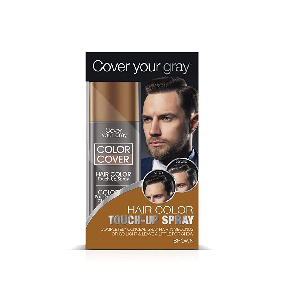 決めますパッチ側面Cover Your Gray メンズカラーカバータッチアップスプレー - ブラウン(3パック)