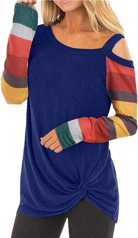 Women's Long Sleeve Off Shoulder Tops Printing Zipper Deep O-Neck T Shirts Casual Twisted Hem Tops