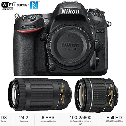 Nikon D7200 DX 24.2MP Digital SLR Camera Body with WiFi NFC + Dual Lens AF-P (18-55mm + 70-300mm) Bundle - (Renewed)