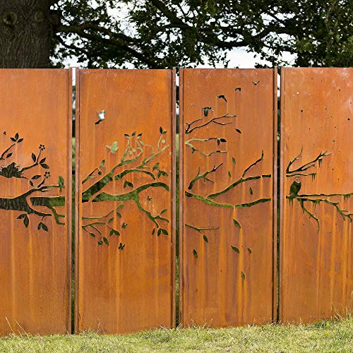 Gartenwand Sichtschutz 4 Jahreszeiten rost Stahl 300x195 cm