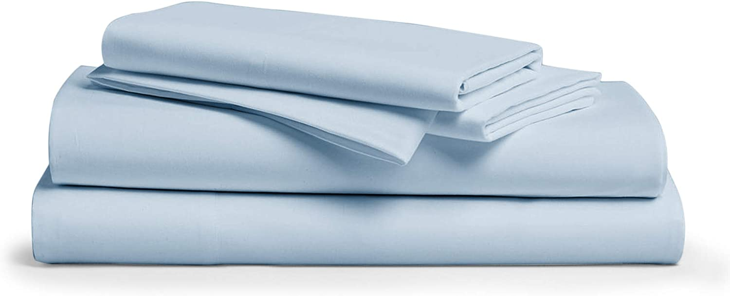 "1000 Thread Count 100% Pure Egyptian Cotton – Sateen Weave Premium Bed Sheets, 4 -Piece Light bluee King -Size Luxury Sheet Set, Fits Mattress Upto 18"" deep Pocket"