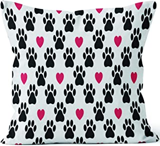 Dog Paw seamless pattern vector footprint heart valentine cat kitten puppy bear scarf isolated cartoon repeat wallpaper Home Decor Throw Pillow Cover Cotton Linen Cushion,HD Printing for Couch Sofa B