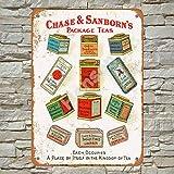 1903 Chase & Sanborn's Teas Cartel de chapa de metal pintado decoración de pared moderna sala de juegos reglas de la casa cartel de arte de cartel de calle de metal