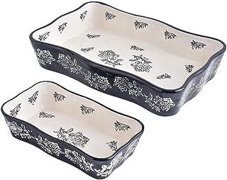 Wisenvoy Baking Dish Ceramic Bakeware Sets Lasagna Pan 2-pcs Casserole Dish Bakeware Baking Dishes Black Baking Set