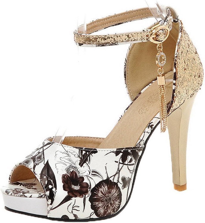 AmoonyFashion Women's Buckle Peep-Toe High-Heels PU Assorted color Sandals