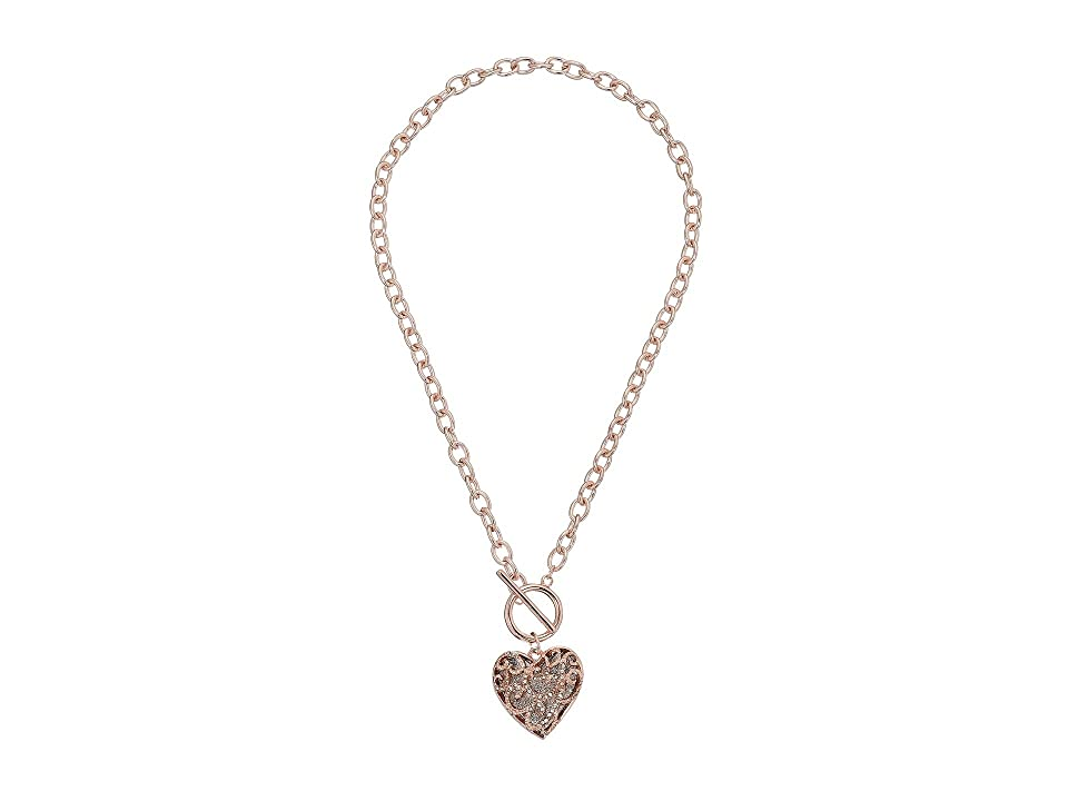 GUESS Swirl Pave Heart Toggle Pendant Necklace (Rose Gold/Crystal) Necklace