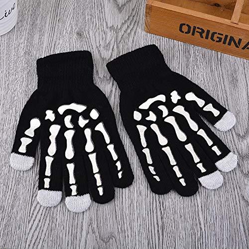 DGJEL Mode 1 para warm halten Skelett klaue handschuh gestrickte Wolle Ghost Bone Handschuhe männer Frauen Halloween Party schädel Skeleton Handschuhe