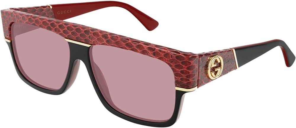 Gucci, OCCHIALI DA SOLE PER UOMO, IN PELLE DI SERPENTE E ACETATO, Colore: Rosso / Nero con logo GG oro GG0483S-004 60