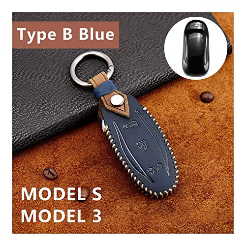 Goquik Auto-Schlüssel-Fall for Tesla Model X Modell S Modell 3 Remote Fob Key Shell-Leder-Kasten-Abdeckungs-Halter (Color : Type B Blue)