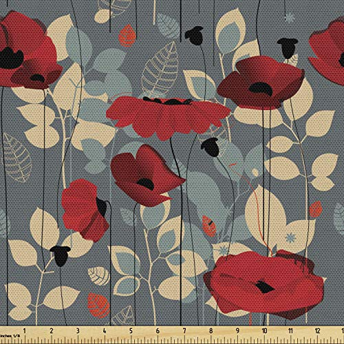 Ambesonne Poppy Fabric by The Yard, Abstraction of a Growing Floral Garden Leaves Botanical Modern Nature Display, Decorative Fabric for Upholstery and Home Accents, 1 Yard, Beige Grey