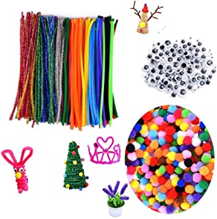 Craft Supplies for Kids, Craft Pipe Cleaners Glitter Pompoms Set with Googly Eyes for DIY Art Supplies