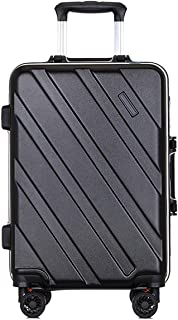 """SRY-Luggage PC Material Simple Trolley Case, Business Travel Luggage, Roller Walking Rolling Box, 20"""" 24"""" Inches Durable Carry on Luggage (Color : Black, Size : 24inch)"""