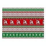 Generice Navidad serie impresión geométrica algodón lino tela arte mantel individual nuevo impermeable y aislante térmico antideslizante mesa estera
