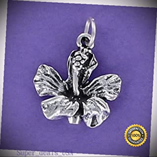 Hibiscus Charm Sterling Silver for Bracelet Hawaii Vacation Flower Tropical DIY Handmade Ornament Crafts