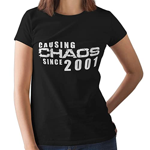 18th Birthday Gifts For Gilrs Causing Chaos T Shirt Black Pink S