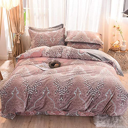 Mikrofaser Bettbezug und Kissenbezug ,Vierteiliges Flanell-Set für Herbst und Winter, dicker warmer Bettbezug, hochwertige Bettwäsche-E_2.0m Vierteiliges Set,Bettwäsche Baumwolle Hautfreundlich für