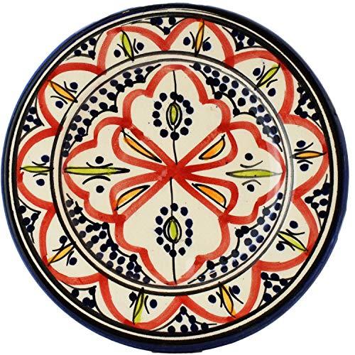 Orientalische Keramikschale Keramikteller Rund Amin Rot 16cm Groß | farbige marokkanische Keramik Schale Teller rund aus Marokko | Orient große Keramikschalen flach Geschirr orientalisch handbemalt