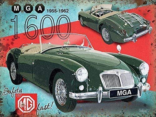 Cozy-T MGA 1600 Sports Car MG Classic 50's Road Car MG Large Metall/Stahl Wandschild